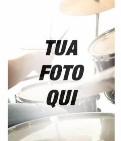 Collage con una foto semi-trasparente batteria musica che si fonde con la tua foto