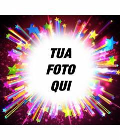 Cornice per foto con stelle colorate luminose