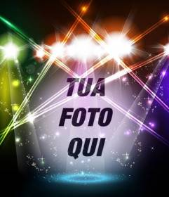 Fotomontaggio di palcoscenico musicale con luci colorate con la tua foto