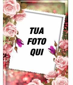 Cornice per foto con rose intorno e uno sfondo sfocato rosa e verde, da personalizzare con foto e testo
