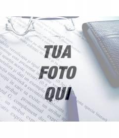 """Filtro Foto di un""""immagine con testo, penna, occhiali e portafogli a sovrapporre sulle tue foto"""