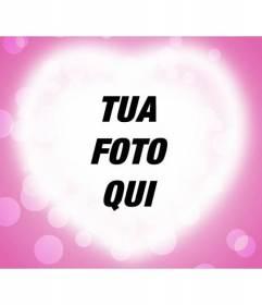 Scheda di amore con proiezione di un cuore su sfondo rosa per mettere la vostra fotografia romantica
