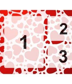Photo frame per 3 foto con i cuori rossi di progettazione in cui in linea caricare foto e creare collage di amore che si desidera