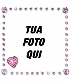Cornice per foto con rosa arrotondato brillanti e diamanti a forma di cuore con lampi di luce