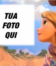 Fotomontaggio con la principessa Rapunzel Disney
