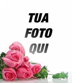 Fotomontaggio con rose rosa con sfondo bianco gradiente di inserire le foto romantiche