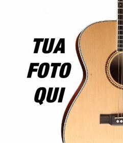 Fotomontaggio di mettere una chitarra spagnola in una foto e aggiungere testo online