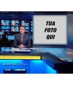 Fotomontaggio di mostrare sullo schermo di un televisore con un giornalista
