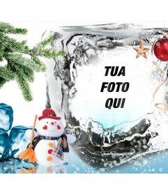 Modello di Natale di mettere la tua foto su un cubetto di ghiaccio. fotomontaggio
