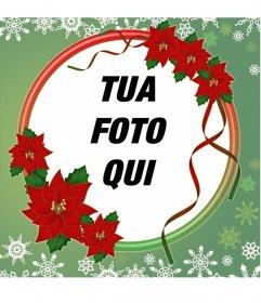 Photo frame decorata con fiori di Natale