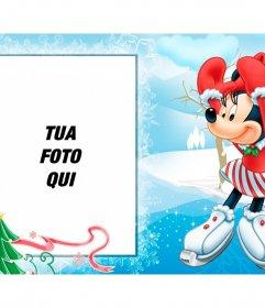 Cartolina di Natale con il suo bambino di foto e Minnie