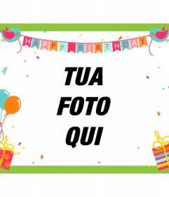 Scheda di compleanno con palloncini, bandiere con gli uccelli, i regali, coriandoli e telaio verde