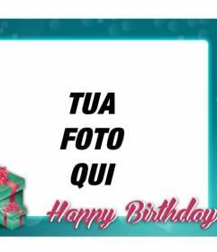 Cartolina di compleanno con cornice turchese congratularmi con il compleanno dei vostri amici e familiari