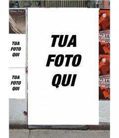 Fotomontaggio per fare i manifesti con la foto su un muro di una strada
