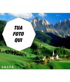 Postcard di bella campagna di Argentina con la tua foto