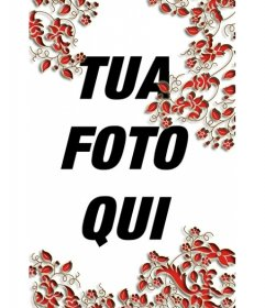 """Impostare le foglie rossa verticale. Per decorare le vostre foto e renderle più interessanti. È possibile salvare l""""immagine o inviarla alle persone"""