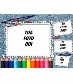 Ideale per tornare a sfondo scolastico denim e matite colorate. La tua immagine appare nella cornice con strisce di notebook