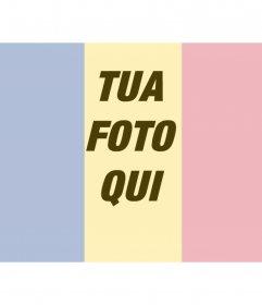 Collage di mettere una bandiera della Romania, insieme a una foto caricata