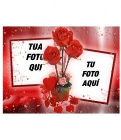 Photo frame dove si può mettere due immagini che sembrano collegati da alcune rose. sfondo rosso con i cuori