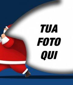 Cartolina di Natale per aggiungere la foto con Babbo Natale porta un sacco in cui è possibile aggiungere una foto