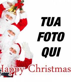 Carta congratularmi Natale in cui 3 Babbo Natale auguriamo un buon Natale e si può aggiungere la vostra foto
