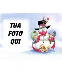 Cartolina natalizia con pupazzo di neve