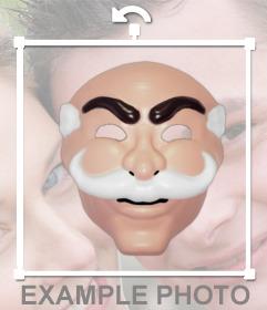 Maschera del gruppo di hacker fsociety da Mr. Robot per attaccare sulla foto