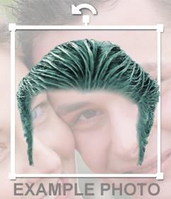 Fotomontaggio di mettere una parrucca di capelli
