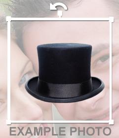 Indossare un cappello nero superiore con lelegante adesivo
