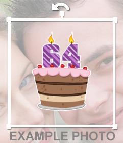Decorate le vostre foto con questo adesivo di torta per festeggiare 64 anni