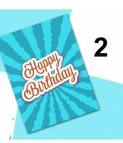 Festeggia il tuo compleanno con questa scheda originale per modificare con due immagini