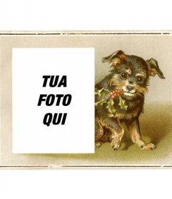 Cartolina di Natale dellannata con il nero e marrone cucciolo disegnato sorridente in possesso di un ramo di agrifoglio con la bocca