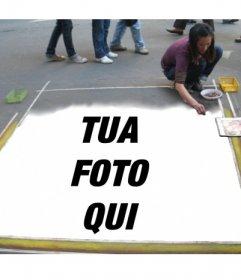 Fotomontaggio di inserire la vostra immagine nel pavimento dipinto da un artista di strada