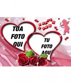Montaggio di due foto a forma di cuore con rose e sfondo rosa