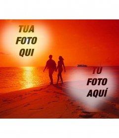 Collage dalla spiaggia e un paio di mettere le tue foto in un cuore