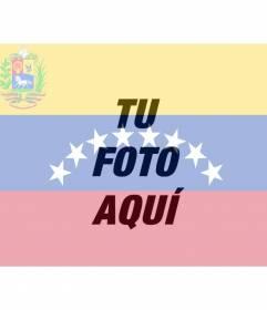 Montaggio fotografico con l'immagine della bandiera venezuelana