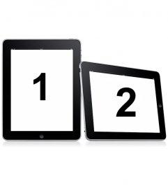 Prendi in due semplici cornici. Carica due foto di questo montaggio in cui le immagini appaiono su due cornici digitali su uno sfondo bianco