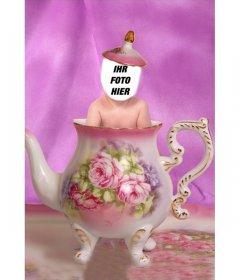 Effekt mit einem Foto Ihres Kindes zu bearbeiten und ihn in einer Tasse Tee siehe