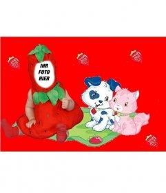 Virtuelle Kostüm für Kinder von einer Erdbeere mit einem roten Hintergrund und Welpen