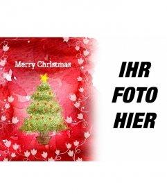 Begrüßt die Feiertage mit diesem Bilderrahmen rotem Hintergrund, die einen Weihnachtsbaum und weißen Reben zeigen