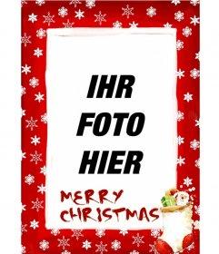 Bilderrahmen rotem Hintergrund mit Schneeflocken und Weihnachten Themen, mit denen zu gratulieren den Urlaub