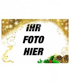 Festive Fotorahmen mit goldenen Sternen Weihnachten Ornament. Um Ihre Fotos anpassen dieser Feiertag