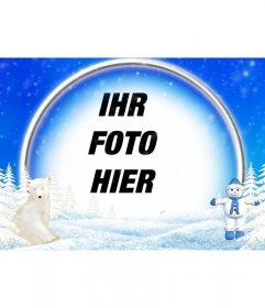 Feldfotos der schneebedeckten Landschaft, Eisbär und Schneemann