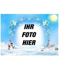Template / picture frame einer schneebedeckten Landschaft mit einem Rahmen aus Ästen der Eisblumen, in dem ein Foto einfügen, um vor allem zu Weihnachten