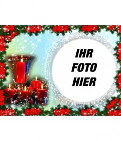 Weihnachtskarte wo Sie ein Bild in einem runden Rahmen von glänzenden Perlen umgeben. Die Hintergrundfarbe variiert von hellblau bis grün und die Zusammensetzung beschichtete Kante Weihnachtssterne, typische Pflanze Christmas red. Wir sehen auch ein Tafelaufsatz bestehend aus einem goldenen Becher mit vier Kerzen umgeben leuchtet eingewachsene. Als Erinnerung an einen besonderen Tag der Ferien