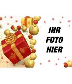 Online-Weihnachtskarte mit Geschenken Ihr Bild hinzufügen
