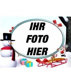 Weihnachten Fotorahmen in den Schnee mit einem Schneemann und Geschenke, um ein Foto setzen