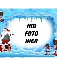 Weihnachtskarte von Santa Claus auf eisigen Landschaft. Wo kannst du ein Foto online