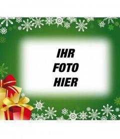 Postkarte mit grünem Hintergrund und Weihnachtsgeschenke, um das Foto in den Hintergrund zu stellen