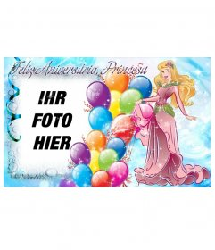 Fotomontage zu erstellen Sie eine Postkarte an den Geburtstag der Prinzessin des Hauses zu gratulieren